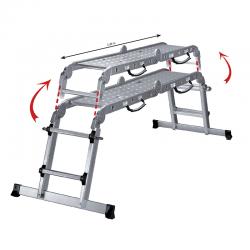 Multifunkcionālas kāpnes teleskopiskas + metāla platforma (450711)