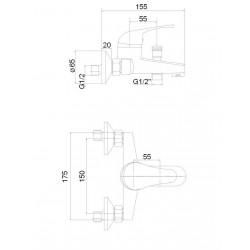 Vannas jaucējkrāns ar komplektu MG-6221 MAGMA JUPITS