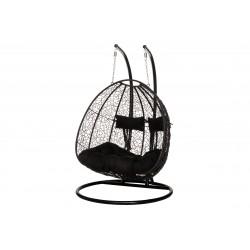 Iekaramais krēsls, 2 sēdvietas, melns (602961) 4Living