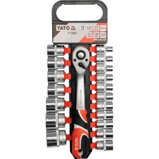 Muciņu atslēgu komplekts 1/2'' (19gab.) YT-38681 YATO