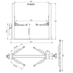 Hidraulisks divu balstu pacēlājs ar mehāniskām drošības slēdzenēm, 4.0t (PL402D380V)