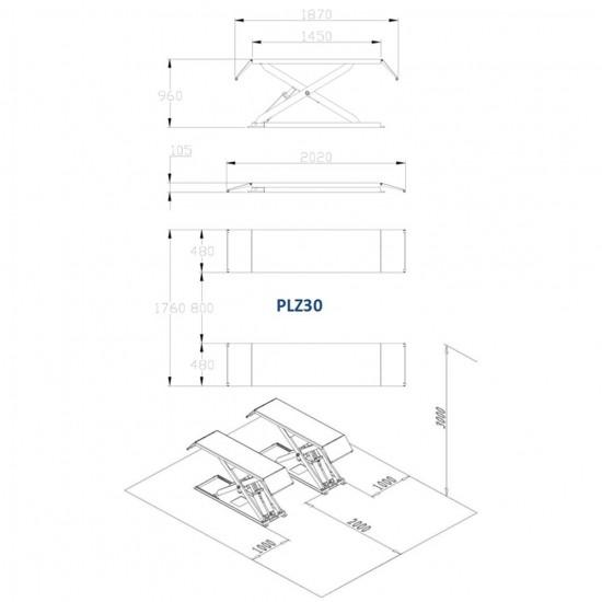 Šķēru hidrauliskais pacēlājs, 3.0T (PLZ30)