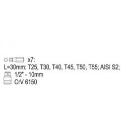 Uzgaļu kompl. ar pāreju TORX 7 gab. (0410-YT)