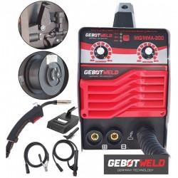 Invertora pusautomātiskā metināšanas ierīce 2in1 MIG+MMA 200A, 230V IGBT, NO GAS (GET003)